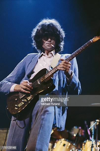 English guitarist Jimmy Page performing on stage at a charity concert for ARMS held at the Royal Albert Hall London 20th September 1983