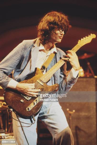 English guitarist Jimmy Page performs on stage at a charity concert for ARMS held at the Royal Albert Hall London 20th September 1983