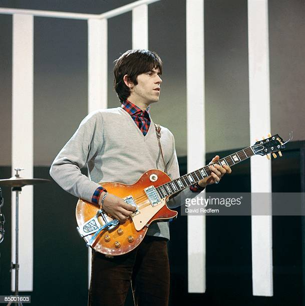 English guitarist Keith Richards of rock group The Rolling Stones plays a Gibson Les Paul guitar with Bigsby Vibrato on the set of the ABC Television...