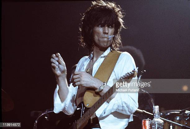 English guitarist Keith Richards of the Rolling Stones on stage during a European tour 1973