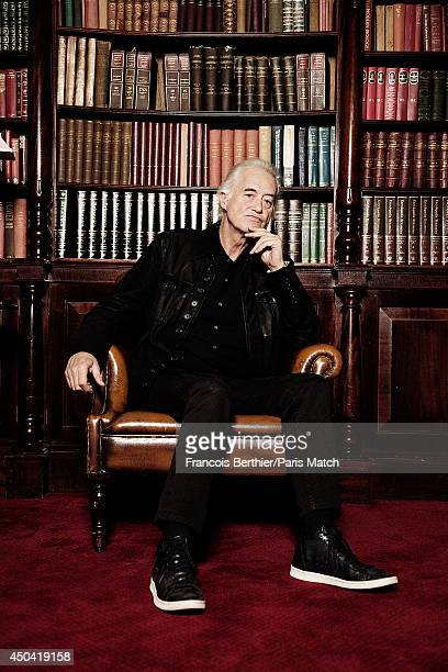 English guitarist of the Group Led Zeppelin Jimmy Page is photographed for Paris Match on March 26 2014 in London United Kingdom