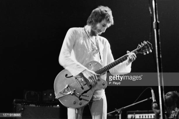 English guitarist Pete Townshend appears in Eric Clapton's Rainbow Concert at the Rainbow Theatre, London, 13th January 1973. He is playing a Gretsch...