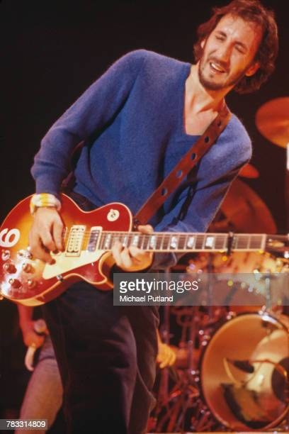 English guitarist Pete Townshend of The Who plays his 1975 Gibson Les Paul deluxe guitar on stage during the band's tour of the United States in...