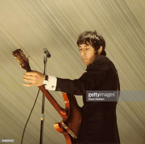 English guitarist Pete Townshend performs live on stage, playing a Rickenbacker guitar, with rock group The Who at the 6th Windsor Jazz and Blues...