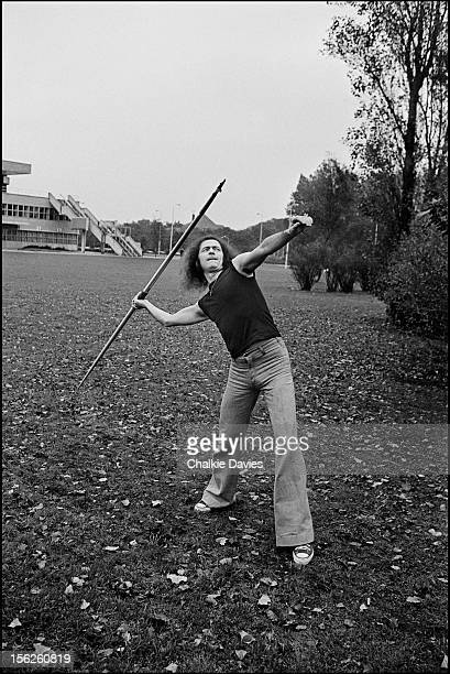 English guitarist Ritchie Blackmore of rock group Deep Purple throwing a javelin Germany 1979