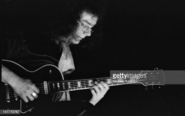 English guitarist Robert Fripp of King Crimson performs on stage at the Lyceum London 19th May 1971
