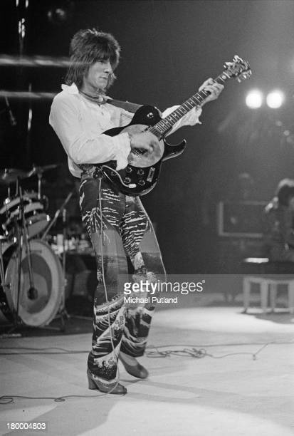 English guitarist Ronnie Wood performing with Faces at The Sundown Edmonton London 4th June 1973
