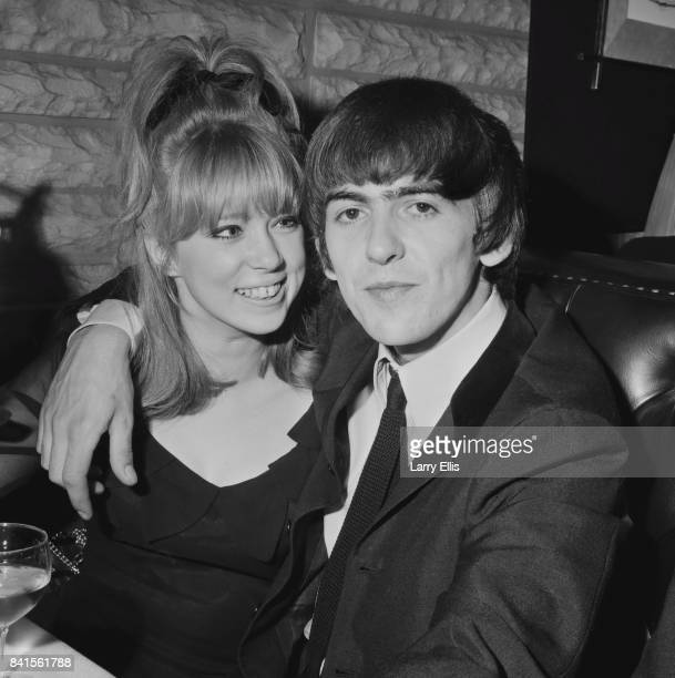 English guitarist, singer, and songwriter George Harrison with girlfriend Pattie Boyd, whom he would later marry, UK, 9th April 1964.