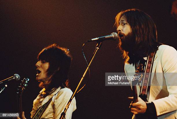 English guitarists Eric Clapton and Ronnie Wood performing with an all-star line-up at the Rainbow Theatre in London, 13th January 1973. The concert...