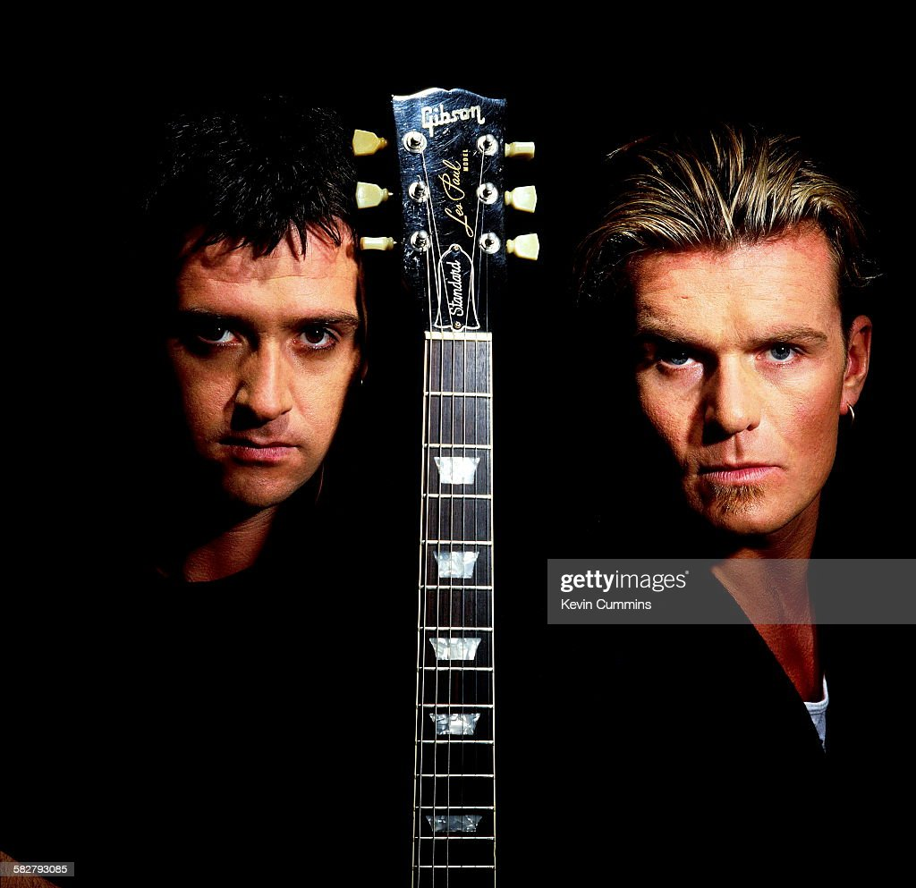 English guitarists Johnny Marr (formerly of The Smiths, left) and Billy Duffy of The Cult, 1992. The pair collaborated on a track recorded for the NME's 40th anniversary compilation, 'Ruby Trax'.