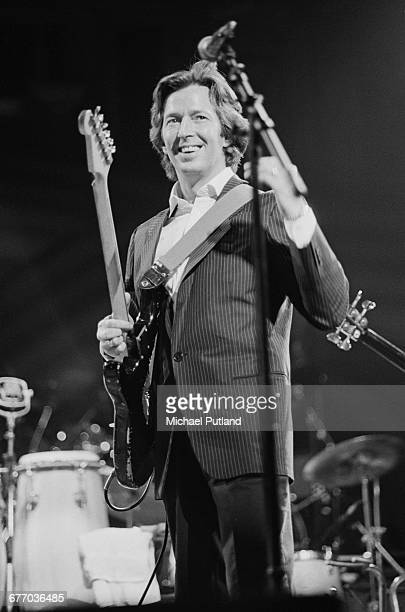 English guitarst Eric Clapton on stage during a charity concert for ARMS held at the Royal Albert Hall London 20th September 1983