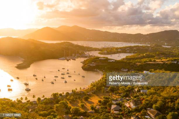 english harbour from shirley heights, antigua - isla martinica fotografías e imágenes de stock