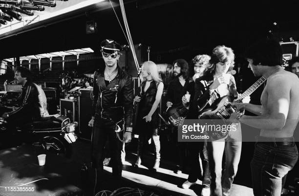 English heavy metal band Judas Priest and crew on stage during the 'Hell Bent for Leather Tour' at Dalymount Park, Dublin, Ireland, 1st July 1979;...