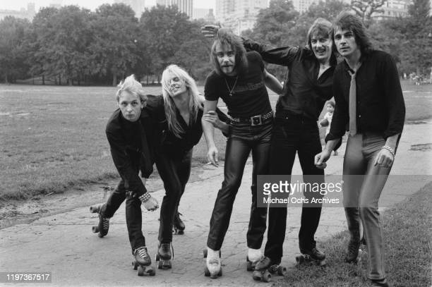 English heavy metal band Judas Priest in a photoshoot for 'Roller Disco' magazine, 1979. From left to right, they are lead vocalist Rob Halford,...