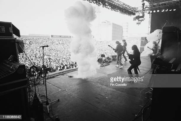 English heavy metal band Judas Priest on stage during the 'Hell Bent for Leather Tour' at Dalymount Park, Dublin, Ireland, 1st July 1979; they are...