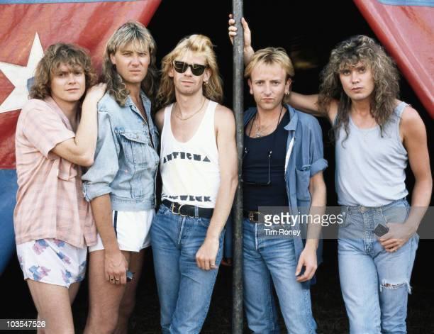 English heavy metal group Def Leppard, circa 1985.