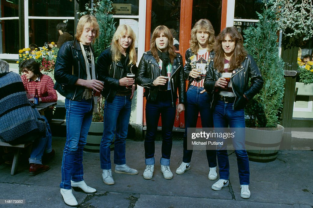 english heavy metal group iron maiden outside the island queen pub in news photo getty images. Black Bedroom Furniture Sets. Home Design Ideas