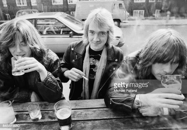 English heavy metal group Iron Maiden outside the Island Queen pub in Islington London 1982 Left to right drummer Clive Burr guitarist Adrian Smith...