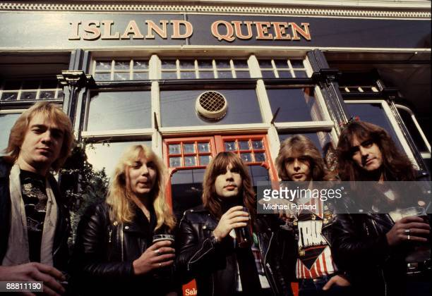 English heavy metal group Iron Maiden outside the Island Queen pub in Islington London 1982 Left to right guitarist Adrian Smith guitarist Dave...