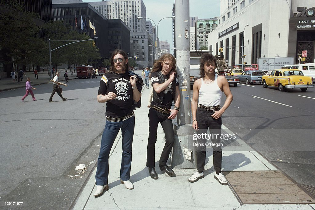 English heavy metal group Motorhead, Cortlandt Street, Lower Manhattan, New York, 1981. Left to right: bassist and singer Lemmy, guitarist 'Fast' Eddie Clarke and drummer Phil 'Philthy Animal' Taylor.