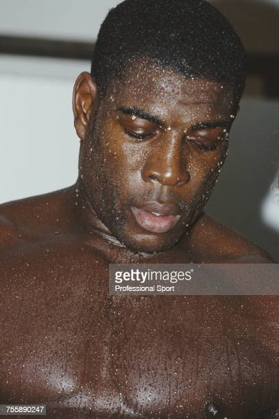 English heavyweight boxer Frank Bruno pictured dripping in sweat during a training session circa 1990 Frank Bruno's next fight would be against Dutch...