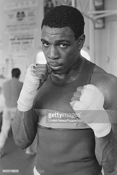 English heavyweight boxer Frank Bruno pictured during a training session at Terry Lawless' gym in London on 1st September 1983