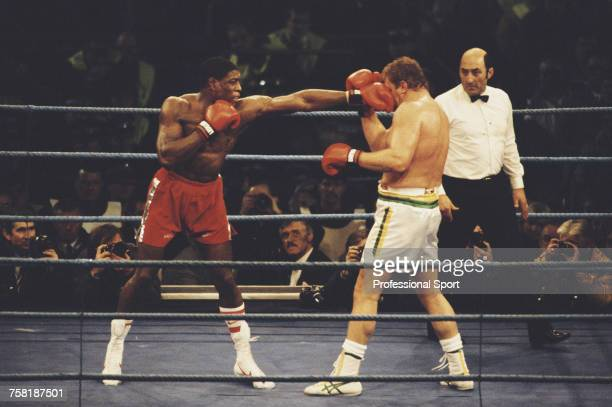 English heavyweight boxer Frank Bruno pictured in action to defeat British Australian boxer Joe Bugner with a TKO in the 8th round at White Hart Lane...