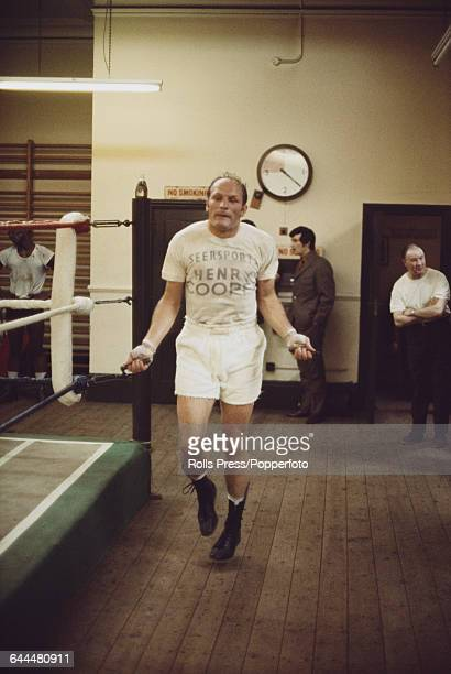 English heavyweight boxer Henry Cooper pictured skipping during training in a boxing gym in London in October 1970 prior to his fight with Jose...