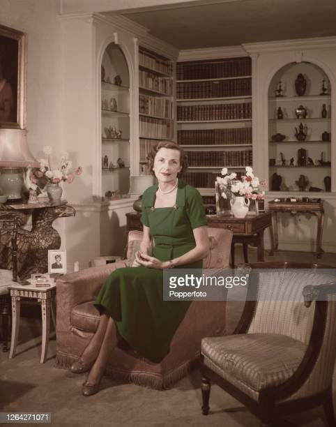 English heiress and socialite Edwina Mountbatten Countess Mountbatten of Burma posed in the sitting room of her London home at number 2 Wilton...