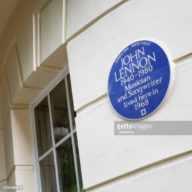 English Heritage Blue Plaque on iconic 34 Montagu Square in Marylebone John Lennon Yoko Ono 1968
