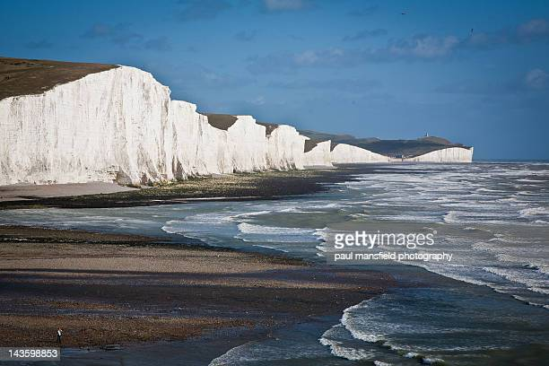 english heritage coastline - seven sisters cliffs stock photos and pictures