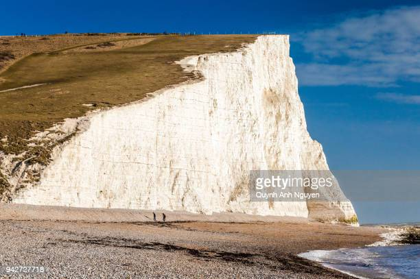 UK: English heritage Seven Sisters coastline's chalk cliffs and beach