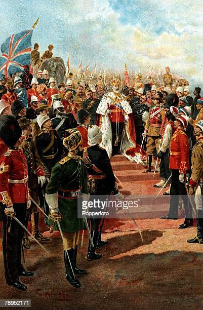 English History British Royalty Colour illustration Circa 1902 The Imperial Bodyguard soldiers of the Empire pay homage to King Edward VII