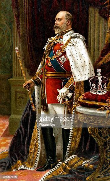 English History British Royalty Colour illustration King Edward VII pictured in full Coronation robes having been crowned on August 9th 1902
