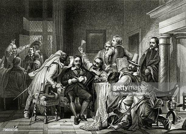 27th January 1649 This illustration shows King Charles I in the guard room and being insulted by the soldiers of Cromwell
