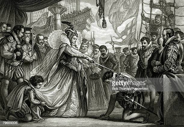 4th April 1581This illustration shows Queen Elizabeth I knighting Francis Drake on board the Golden Hind at Deptford