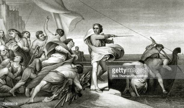 876 This illustration shows King Alfred inciting the Anglo Saxons to repel the invasion of the Danes