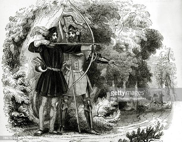circa 1200 Robin Hood and Little John Legend has it that Robin Hood and his men who were thought to operate from Sherwood Forest robbed from the rich...