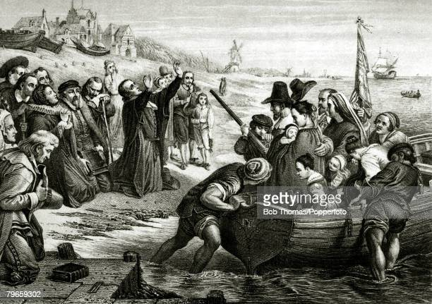 July 1620 This illustration shows the departure of the Pilgrim Fathers from Delftshaven for the new English colonies in North America