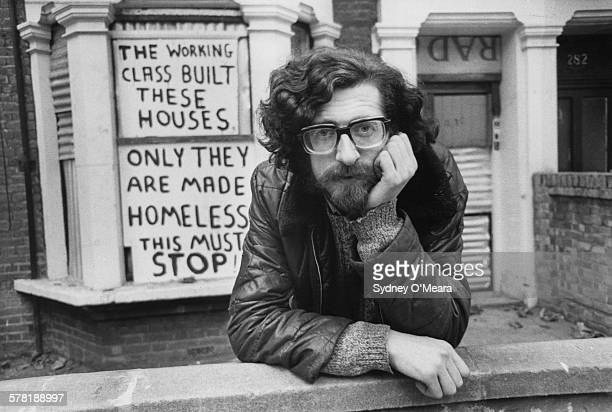 English housing and squatters' rights activist Piers Corbyn outside houses in Shirland Road Maida Vale London which have been barricaded by the...