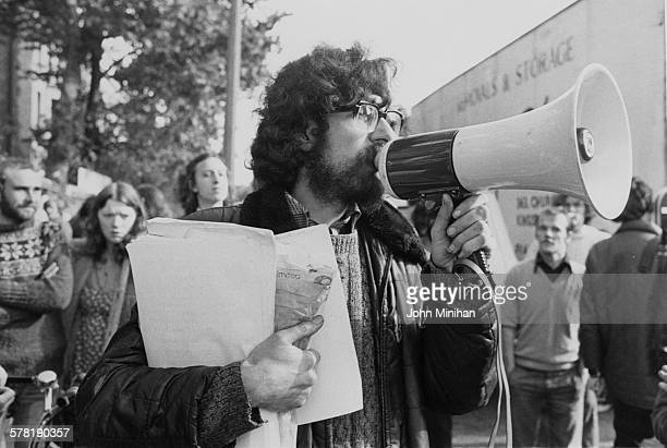 English housing and squatters' rights activist Piers Corbyn protesting against a ruling that families can be evicted from a squat in Elgin Avenue...