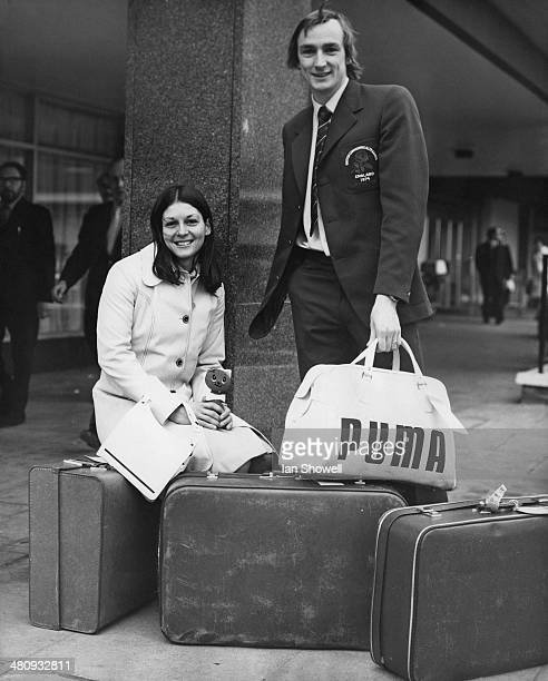 English hurdlers Judy Vernon and Alan Pascoe in London waiting for a coach to Heathrow Airport during their journey to New Zealand for the British...