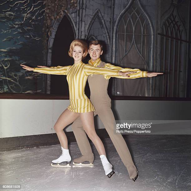 English ice dancers and World figure skating ice dance champions Diane Towler and Bernard Ford pictured together on the ice at a rink in London on...