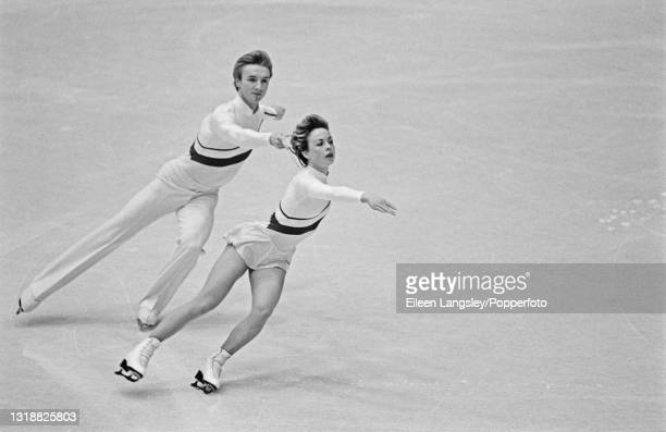 English ice dancers Jayne Torvill and Christopher Dean compete for Great Britain to finish in first place gold medal position in the Ice Dancing...