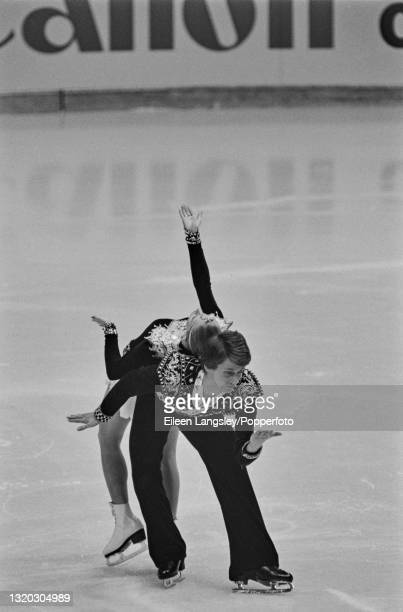English ice dancers Karen Barber and Nicholas Slater compete for the United Kingdom to finish in 4th place in the Ice dancing event at the 1985...