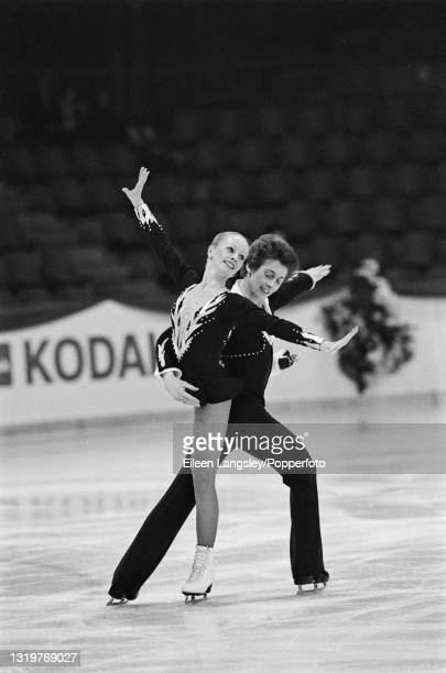 English ice dancers Karen Barber and Nicky Slater compete for Great Britain in the ice dancing event at the Ennia International Challenge Cup in The...