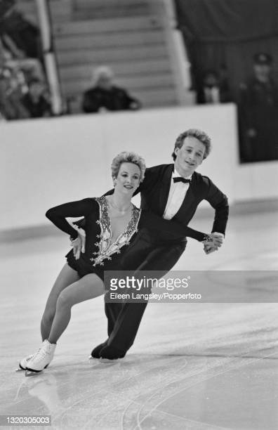 English ice dancers Sharon Jones and Paul Askham compete for Great Britain in the Ice dancing event at the 1988 Winter Olympics in Calgary, Canada in...