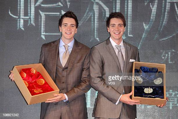 English identical twins James Oliver Phelps attend the premiere press conference of the film Harry Potter And The Deathly Hallows Part 1 at the Vie...