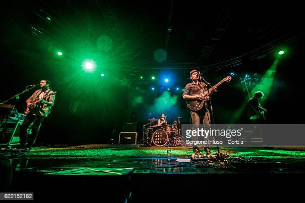 English Indie Pop band Alvarez Kings open the concerto of American singer and songwriter Melanie Adele Martinez performs on November 8 2016 in Milan...