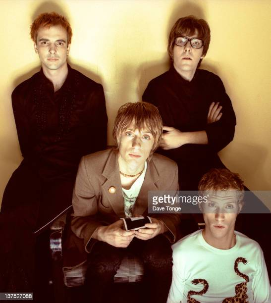English indie rock band Kula Shaker London October 1996 Clockwise from top left Alonza Bevan Jay Darlington Paul WinterHart and Crispian Mills